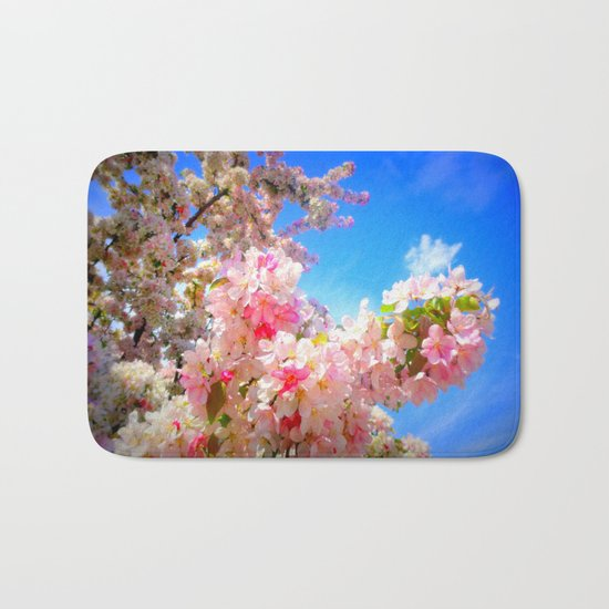 Pink Flowers Blue Sky Bath Mat