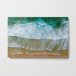 Ocean Waves Crushing On Beach, Drone Photography, Aerial Photo, Ocean And Beach Wall Art Print Decor Metal Print