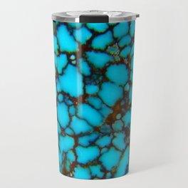 Western Turquoise Blue-Black Spider Web Turquoise Gemstone Travel Mug