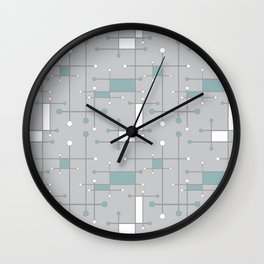 Intersecting Lines in Gray, Sea Foam and White Wall Clock
