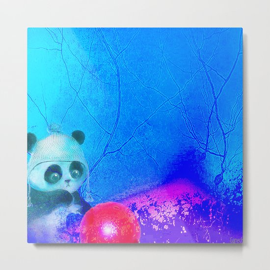 Baby panda plays with its balloon Metal Print