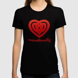 UNCONDITIONALLY in red T-shirt