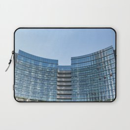 three workers work to clean the windows of a large skyscraper in Milan Laptop Sleeve
