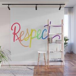 Respect in Watercolor Rainbow Gradient Wall Mural