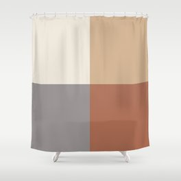 Earthy 4 Quarter Squares Inspired By Cavern Clay Sw 7701 and Accent Colors Shower Curtain