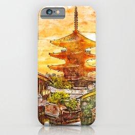 Hokanji Temple Japan Watercolor iPhone Case