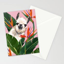 Llama in Bird of Paradise Flowers Stationery Cards