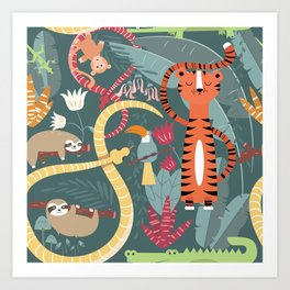 Rain forest animals 003 Art Print