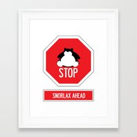 snorlax Framed Art Prints featuring Stop! Snorlax ahead by Marta Beltowska Photography