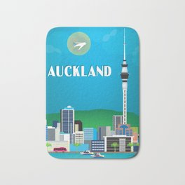 Auckland, New Zealand - Skyline Illustration by Loose Petals Bath Mat