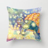 tortoise Throw Pillows featuring Tortoise by Gregery Miller