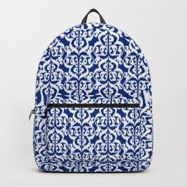 Ikat Moorish Damask, Cobalt Blue and White Backpack