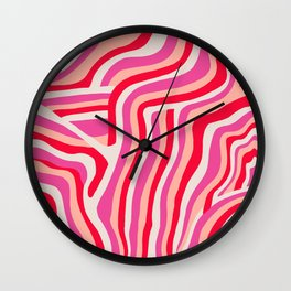 pink zebra stripes Wall Clock