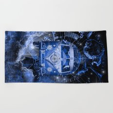 galaxy vintage voyager world map design Beach Towel