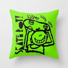 Skate Boy in green Throw Pillow