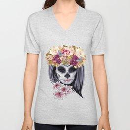Flower Head Skull Unisex V-Neck