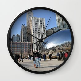 Chicago Bean in the winter Wall Clock