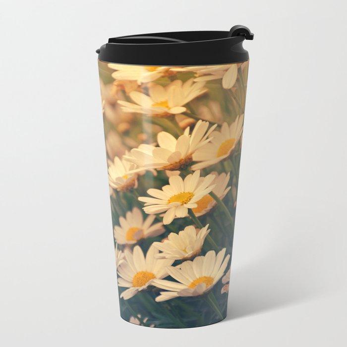 White daisy sunrise effect Travel Mug