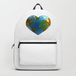 Globe in the shape of heart Backpack