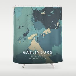 Gatlinburg, United States - Cream Blue Shower Curtain