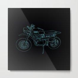 Blue Neon Motorcycle Metal Print