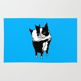Boston Terrier Hugs Rug
