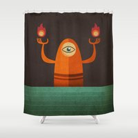three of the possessed Shower Curtains featuring Three by MattBlanksArt