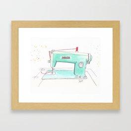 Vintage White 43-8 Sewing Machine in Aqua Framed Art Print