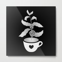 Coffee cup with Coffee plant Black Metal Print