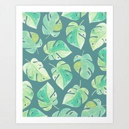 Tropical Leaves - Ocean Blue Art Print