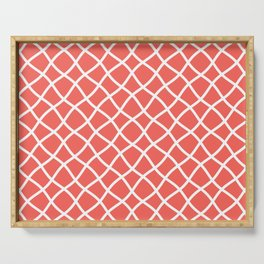Bright coral and white curved grid pattern Serving Tray