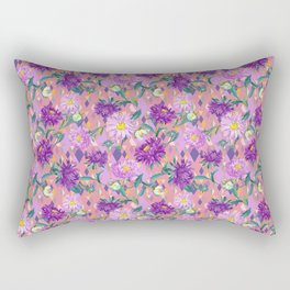 Violet Asters on pink background Rectangular Pillow