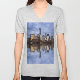 Cityscape of Financial District of New York Unisex V-Neck