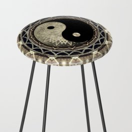 Yin Yang Geometry Mandala V1 Counter Stool