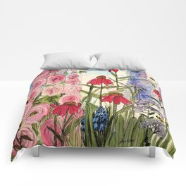Contemporary Cottage Garden Flower Painting  Comforters