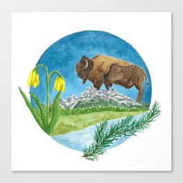 Bison Respect: Yellowstone Flora and Fauna Canvas Print