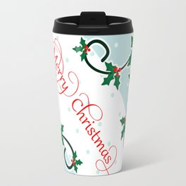 Merry Christmas with Holly Berries corners Travel Mug