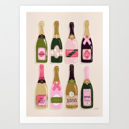 French Champagne Collection – Pink & Green Art Print