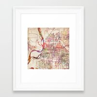 memphis Framed Art Prints featuring Memphis by MapMapMaps.Watercolors