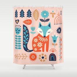 Soft And Sweet Scandinavian Fox Folk Art Shower Curtain