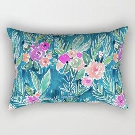 NAVY PARADISE FLORAL Tropical Hibiscus Palm Pattern Rectangular Pillow