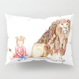 Girl with Her Lion Pillow Sham