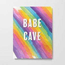 Babe Cave Pastel Rainbow Stripes Metal Print