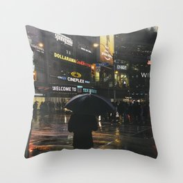 City Lights and Lonely Man in Toronto Street photography Throw Pillow
