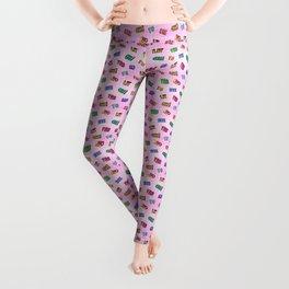 Pink Grid Sticker Pattern Leggings