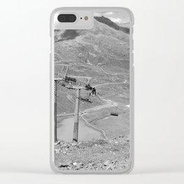 chairlift repair kaunertal alps tyrol austria europe black white Clear iPhone Case