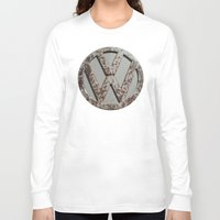 vw bus Long Sleeve T-shirts featuring Rusty VW Symbol by wildVWflower
