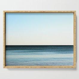 Clean beautiful seascape. Ocean horizon. Nautical background Serving Tray
