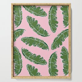 Nouveau Banana Leaf in Crabby Pink Serving Tray