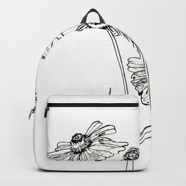 Monochrome floral Rudbeckia flowers graphic. Backpack